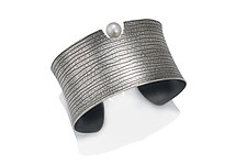 Black Lines Cuff by Tom McGurrin (Silver & Pearl Bracelet)