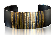 Narrow Barcode Cuff by Tom McGurrin (Gold & Silver Bracelet)