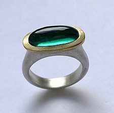 Pastille Ring with Green Quartz by Susan Barth (Gold, Silver & Stone Ring)