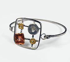 Geometrics in Motion Leafed Bracelet by Virginia Stevens (Gold, Silver & Copper Bracelet)