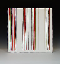 Line in Red and Olive by James Aarons (Ceramic Wall Sculpture)