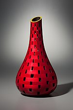 Red Bottle with Yellow Lip by Joel Hunnicutt (Wood Sculpture)