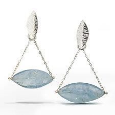 Aquamarine - Raw Surface Chandelier Earring by Danielle Miller (Silver & Stone Earrings)