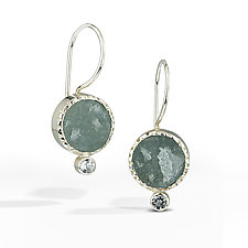 Aquamarine - Raw Surface Earring by Danielle Miller (Silver & Stone Earrings)