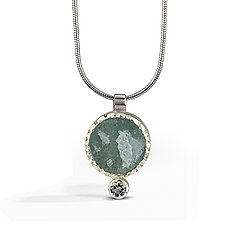 Aquamarine - Raw Surface Pendant by Danielle Miller (Silver & Stone Necklace)