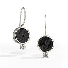 Black Tourmaline - Raw Surface Earring by Danielle Miller (Silver & Stone Earrings)