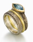 Earth Elements with Blue Topaz Set Size 6.5 by Susan Barth (Silver, Gold & Stone Rings)