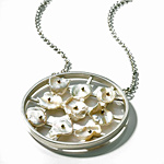 Pearls in Motion Necklace by Virginia Stevens (Silver & Pearl Necklace)