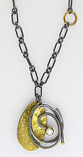 Pebble Scribble Pendant by Sydney Lynch (Gold, Silver & Stone Necklace)