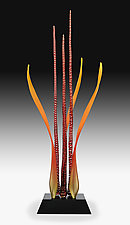 Dancing Waters, Tango Red by Warner Whitfield and Beatriz Kelemen (Art Glass Sculpture)