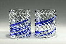 Blue Stripe Rocks Glasses by Tom Stoenner (Art Glass Tumblers)