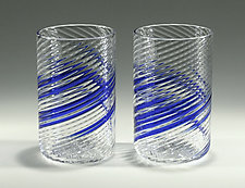 Blue Stripe Tumblers by Tom Stoenner (Art Glass Tumblers)