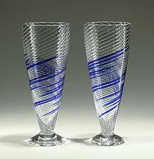 Blue Stripe Soda Glasses by Tom Stoenner (Art Glass Tumblers)