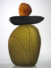 Cairn Rock Totem in Olive by Melanie Guernsey-Leppla (Art Glass Sculpture)