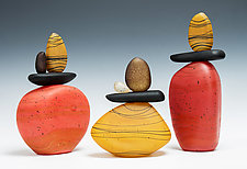 Cairn Rock Totems in Sedona Red & Gold by Melanie Guernsey-Leppla (Art Glass Sculpture)