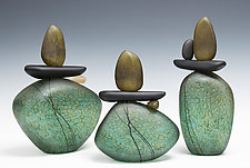 Cairn Rock Totem in Teal by Melanie Guernsey-Leppla (Art Glass Sculpture)