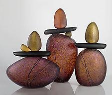 Cairn Rock Totems in Sunset by Melanie Guernsey-Leppla (Art Glass Sculpture)