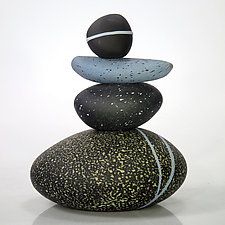 River Stones by Melanie Guernsey-Leppla (Art Glass Sculpture)