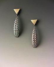Trident Oblong Drop by Hratch Babikian (Gold & Silver Earrings)
