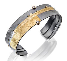 Narrow Diamond Strata Cuff by Sydney Lynch (Gold, Silver & Stone Bracelet)