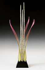Silverado Blush Dancing Waters by Warner Whitfield and Beatriz Kelemen (Art Glass Sculpture)