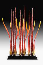 Tango Red En Flammes by Warner Whitfield and Beatriz Kelemen (Art Glass Sculpture)