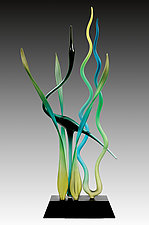 Heron Dancing in the Marsh, Emerald by Warner Whitfield and Beatriz Kelemen (Art Glass Sculpture)