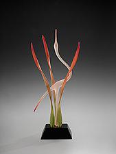 Autumn Marsh Heron by Warner Whitfield and Beatriz Kelemen (Art Glass Sculpture)