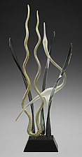 Great Mystic Gray Heron In Marsh by Warner Whitfield and Beatriz Kelemen (Art Glass Sculpture)