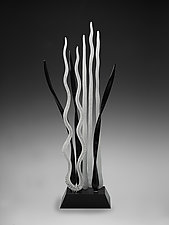 Milonga - Black and White by Warner Whitfield and Beatriz Kelemen (Art Glass Sculpture)