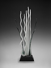 Milonga - Silver and White by Warner Whitfield and Beatriz Kelemen (Art Glass Sculpture)
