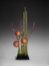 Dancing in the Gardens - Magenta by Warner Whitfield and Beatriz Kelemen (Art Glass Sculpture)