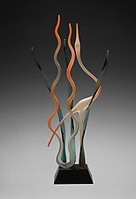 Great Mystic Heron, Autumn Sunrise by Warner Whitfield and Beatriz Kelemen (Art Glass Sculpture)