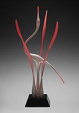Ruby Heron In Marsh II by Warner Whitfield and Beatriz Kelemen (Art Glass Sculpture)