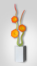 Tangerine Garden In Bloom by Warner Whitfield and Beatriz Kelemen (Art Glass Wall Sculpture)