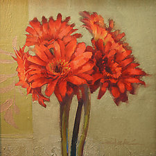 Orange Gerbers by Cathy Locke (Oil Painting)