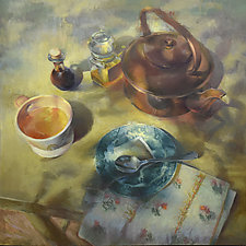 Summer Time Tea by Cathy Locke (Oil Painting)