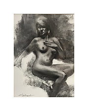 Blonde Nude by Cathy Locke (Charcoal Drawing)