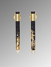 Diamond Stick Earrings by Pat Flynn (Gold & Iron Jewelry)