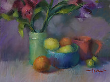 Lemons and Flowers by Cathy Locke (Pastel Painting)