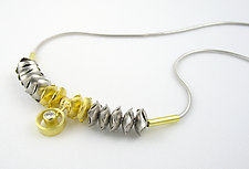 Two-tone Fluid Necklace with floating Diamond by Junko Nakazawa (Gold & Stone Necklace)