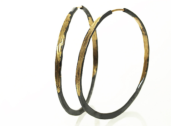 Large Gold and Silver Splash Hoops