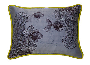 Swimming on Sky: Laura Goldstein: Silk Pillow - Artful Home :  goldfish silk charmeuse pillows home design