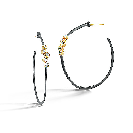 Scribble Diamond Cluster Hoops