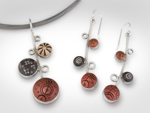 Desert Cosmos Pendant & Ear Bubbles Earrings: Lou Ann Townsend and Mary Filapek: Silver & Polymer Earrings - Artful Home :  silver designers earrings polymer