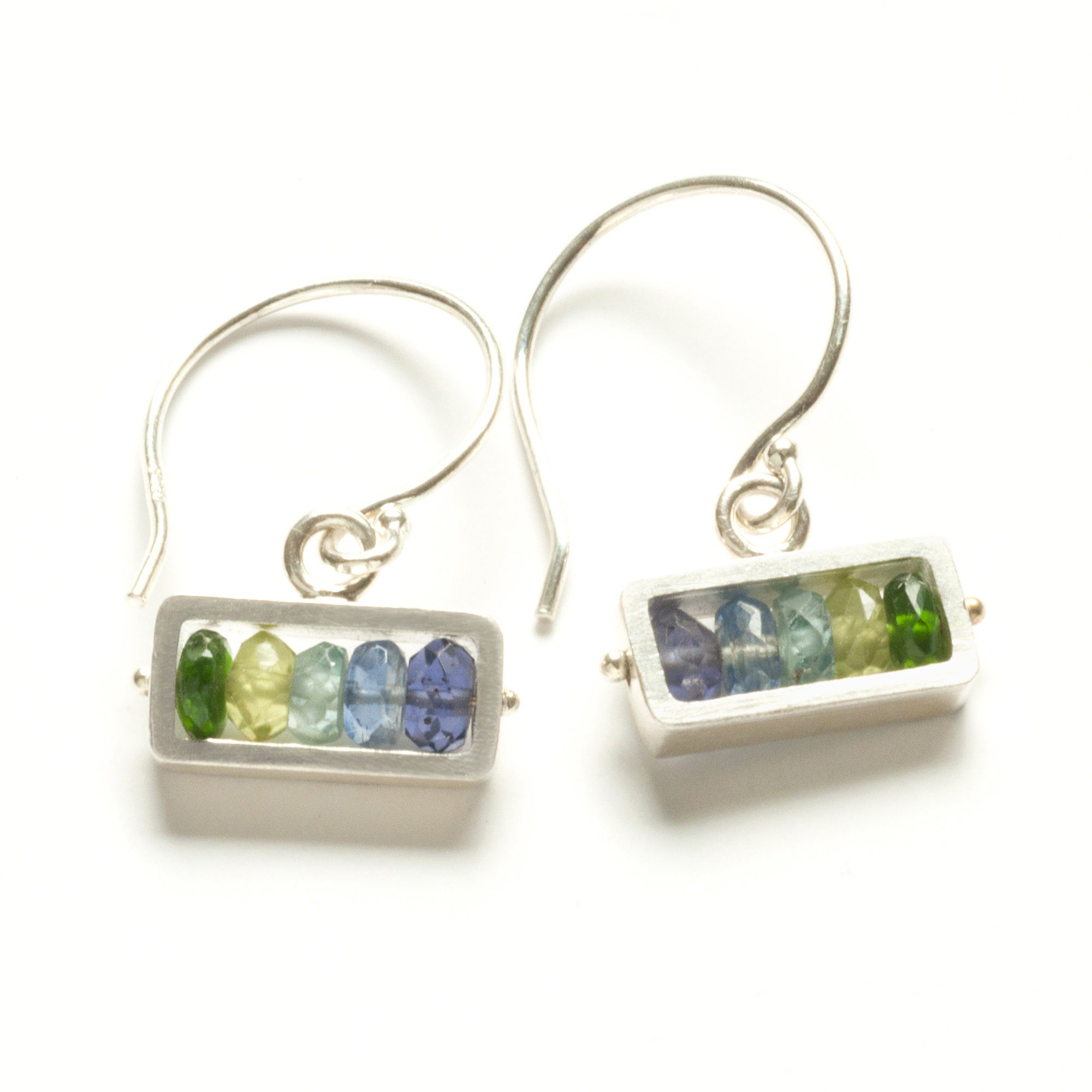 Horizontal Rectangle Earrings in Blue-Green