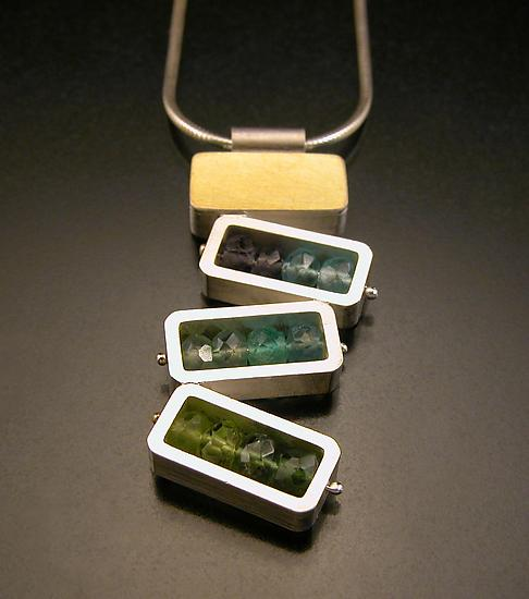 Dancing Rectangles Necklace - Blue and Green