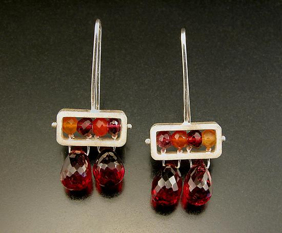Rectangle Earrings with Garnet Drops