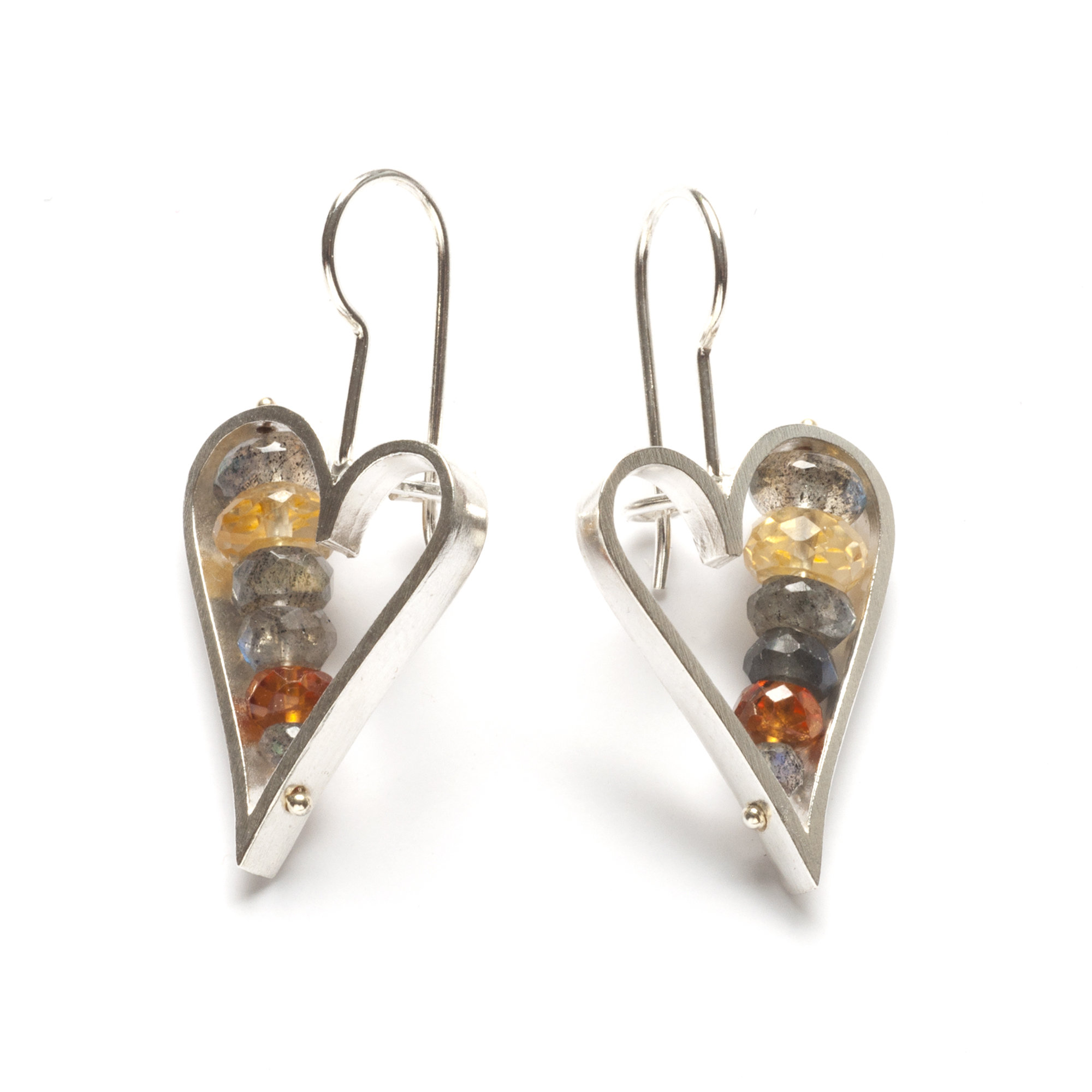 Heart Earrings Labradorite and Honey
