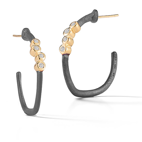 Scribble Small Diamond Cluster Hoops